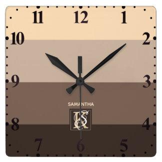 Relógio Quadrado A paleta de cores de Latte do Mocha listra o