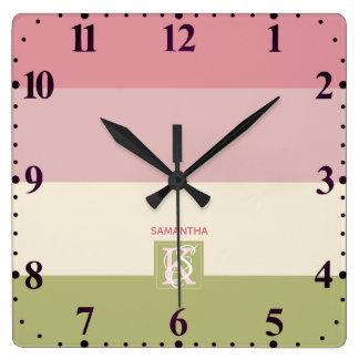 Relógio Quadrado A paleta de cores do verde do rosa do creme listra