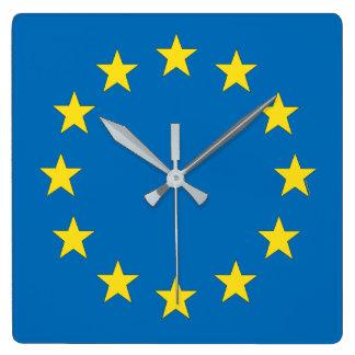Relógio Quadrado A UE embandeira (o pulso de disparo da União