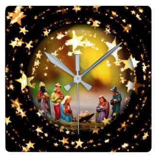 Relógio Quadrado A Virgem Maria Jesus da ucha da natividade Stars o