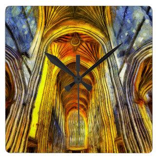 Relógio Quadrado Abadia Van Gogh do banho