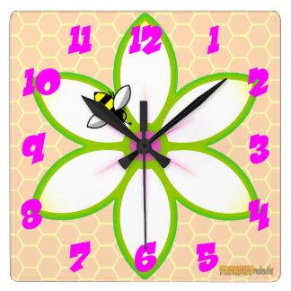 Relógio Quadrado Abelha, flor Honeycome