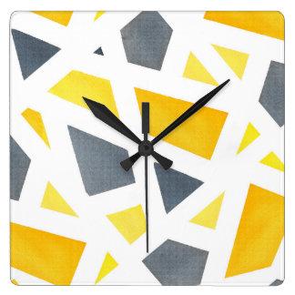 Relógio Quadrado Abstrato amarelo das cinzas geométrico