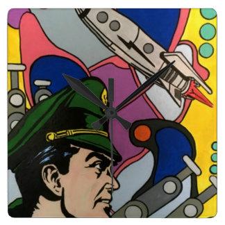 Relógio Quadrado Abstrato atômico a pintura do capitão de Rocket em