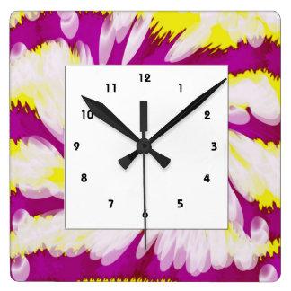 Relógio Quadrado Abstrato branco amarelo cor-de-rosa Groovy do