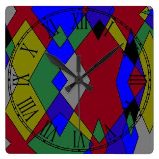 Relógio Quadrado Abstrato colorido retro do diamante