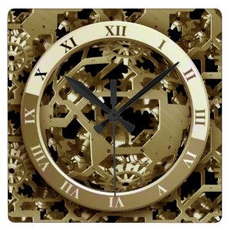 Relógio Quadrado Abstrato das engrenagens do pulso de disparo do