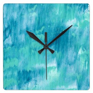 Relógio Quadrado Abstrato de turquesa da cerceta