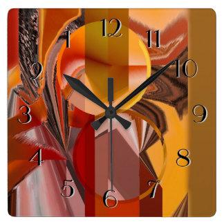 Relógio Quadrado Abstrato do dispositivo nos vermelhos e laranja