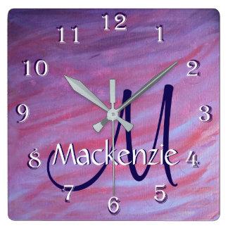 Relógio Quadrado Abstrato roxo cor-de-rosa conhecido adaptável da