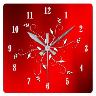 Relógio Quadrado Acento branco vermelho impressionante dos números