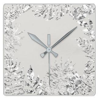 Relógio Quadrado Aço metálico botânico da palma floral das cinzas