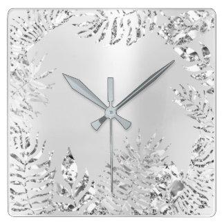 Relógio Quadrado Aço metálico de Monochrom da palma floral das