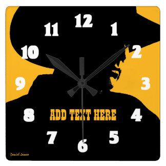 Relógio Quadrado Adicione o vaqueiro conhecido