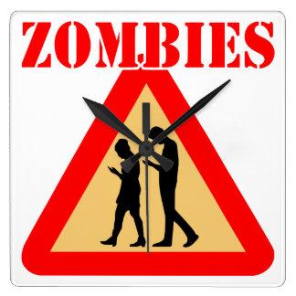 Relógio Quadrado Adolescentes do zombi com telemóveis