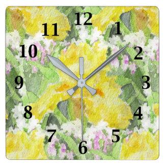Relógio Quadrado Aguarela alta amarela da íris farpada