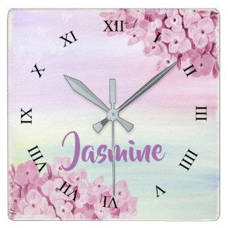 Relógio Quadrado Aguarela bonito do Hydrangea do rosa Pastel
