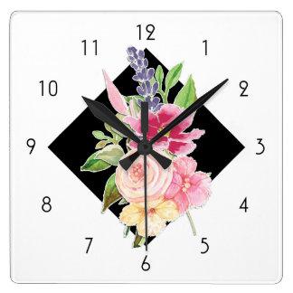 Relógio Quadrado Aguarela feita sob encomenda do vintage moderno