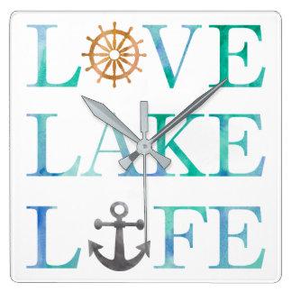 Relógio Quadrado Aguarela náutica da tipografia da vida do lago