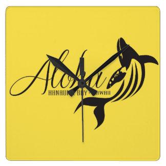 Relógio Quadrado Aloha baleia de Havaí