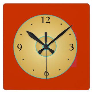 Relógio Quadrado Amarelo vermelho simplista com pulso de disparo de