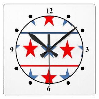 Relógio Quadrado americano-bandeira-estrela-fundo