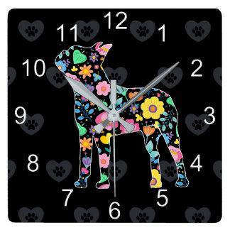 Relógio Quadrado Amor bonito meu design floral de Boston Terrier