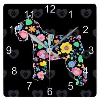 Relógio Quadrado Amor bonito meu design floral do Schnauzer
