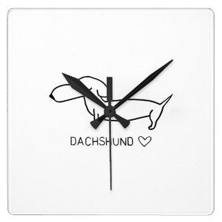 Relógio Quadrado Amor do Dachshund