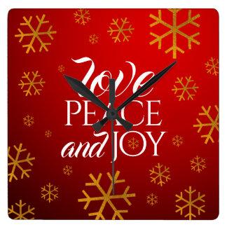 Relógio Quadrado Amor, paz, e alegria vermelhos festivos com flocos