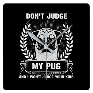 Relógio Quadrado Animal do Pug