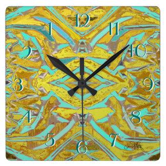 Relógio Quadrado Aninhar-se abstrato cronometra para trás o amarelo