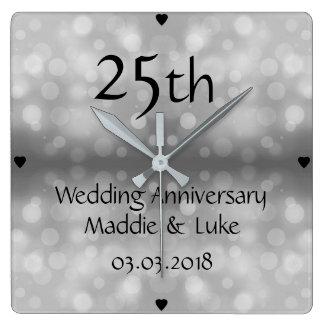 Relógio Quadrado Aniversário de casamento dos pingos de chuva de
