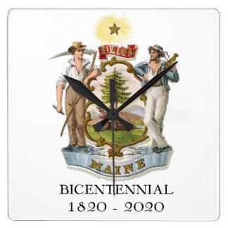 Relógio Quadrado Aniversário de Maine 200th bicentenário
