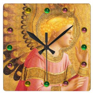 Relógio Quadrado ANJO do AVISO em pedras preciosas coloridas do