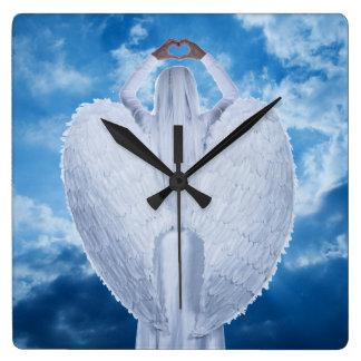 Relógio Quadrado Anjo nas nuvens