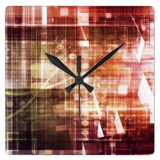 Relógio Quadrado Aparência de Digitas com arte de transferência da