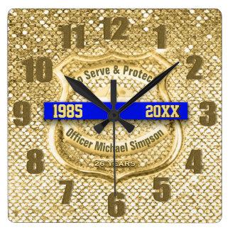 Relógio Quadrado Aposentadoria do agente da polícia