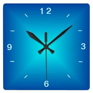 Relógio Quadrado Aqua azul design iluminado > pulso de disparo de
