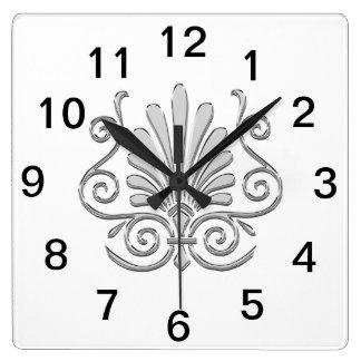 Relógio Quadrado Arabesque da pena da prata do art deco do vintage