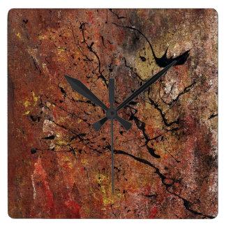 Relógio Quadrado Arte abstracta - incêndio violento