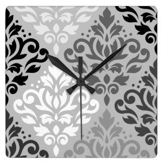 Relógio Quadrado Arte BW do Lg Ptn do damasco do rolo & cinzas