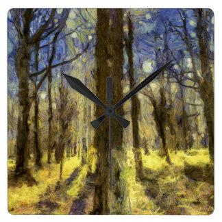 Relógio Quadrado Arte da floresta de Vincent van Gogh