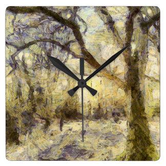 Relógio Quadrado Arte da floresta do nascer do sol