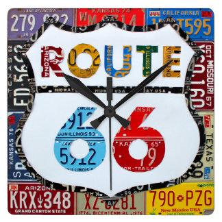 Relógio Quadrado Arte da matrícula da rota 66 pelo Turnpike do