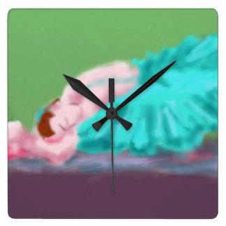 Relógio Quadrado Arte de descanso do balé