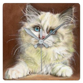 Relógio Quadrado Arte do gatinho de Ragdoll
