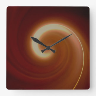 Relógio Quadrado Arte espiral clara escura de Brown