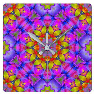Relógio Quadrado Arte floral G445 do Fractal do pulso de disparo de