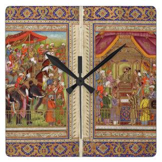 Relógio Quadrado Arte muçulmana islâmica de Boho do Islão de India